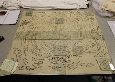 WWI Tablecloth removal of crease with the helpf of glass weights